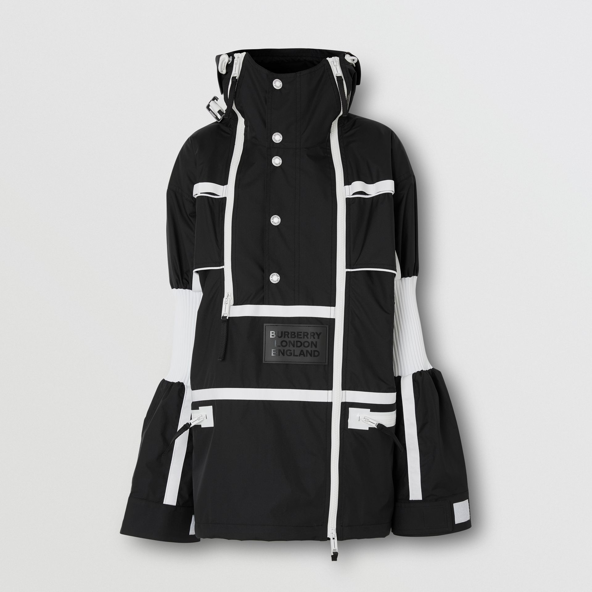 Two-tone Nylon Reconstructed Track Jacket in Black - Women | Burberry - gallery image 3