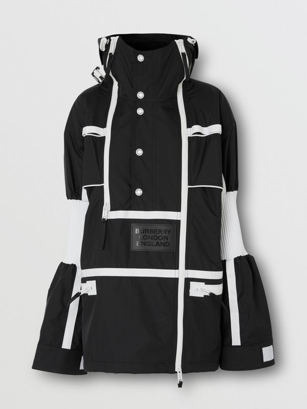 Two-tone Nylon Reconstructed Track Jacket in Black - Women | Burberry - cell image 3