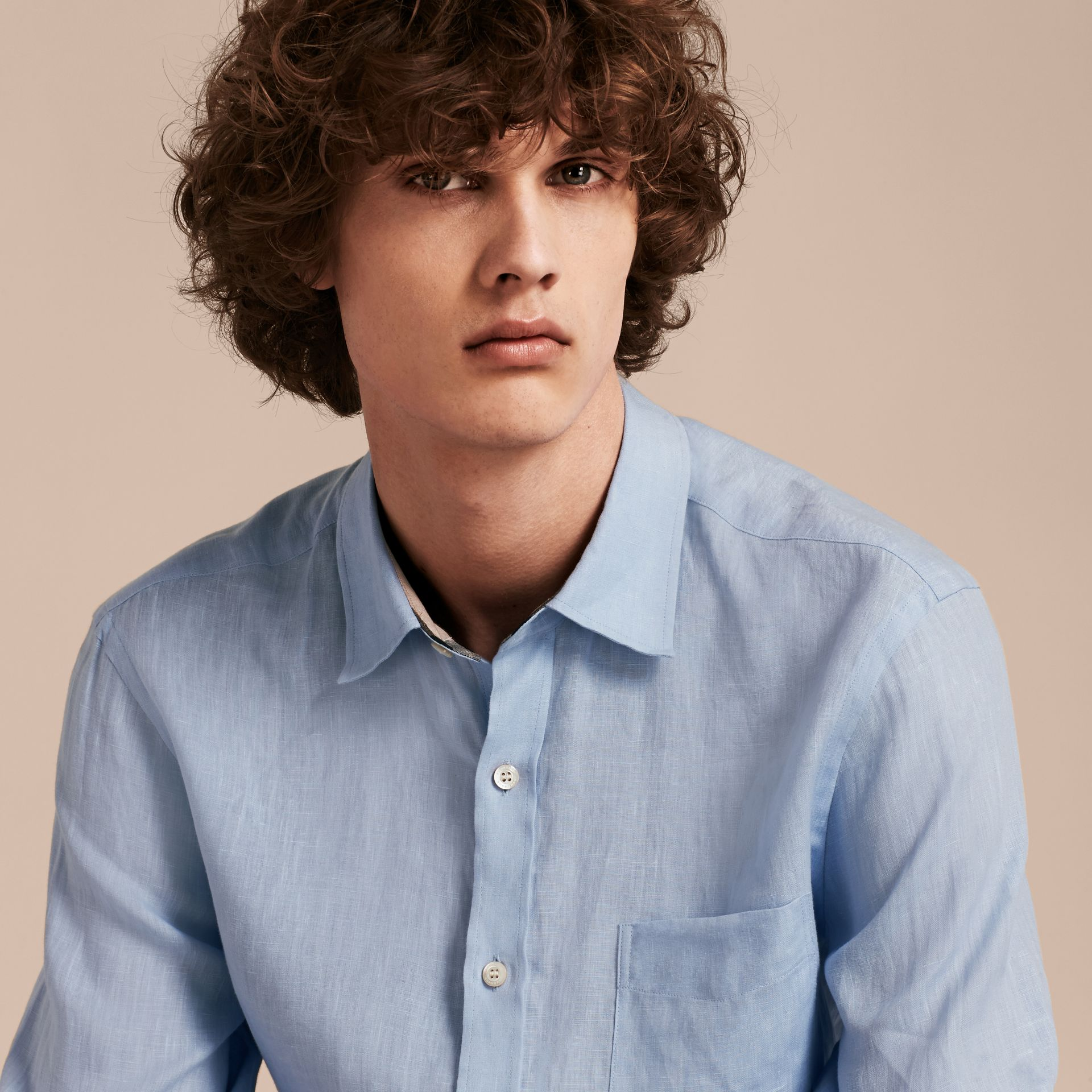 Check Detail Linen Shirt in Pale Blue - Men | Burberry - gallery image 5