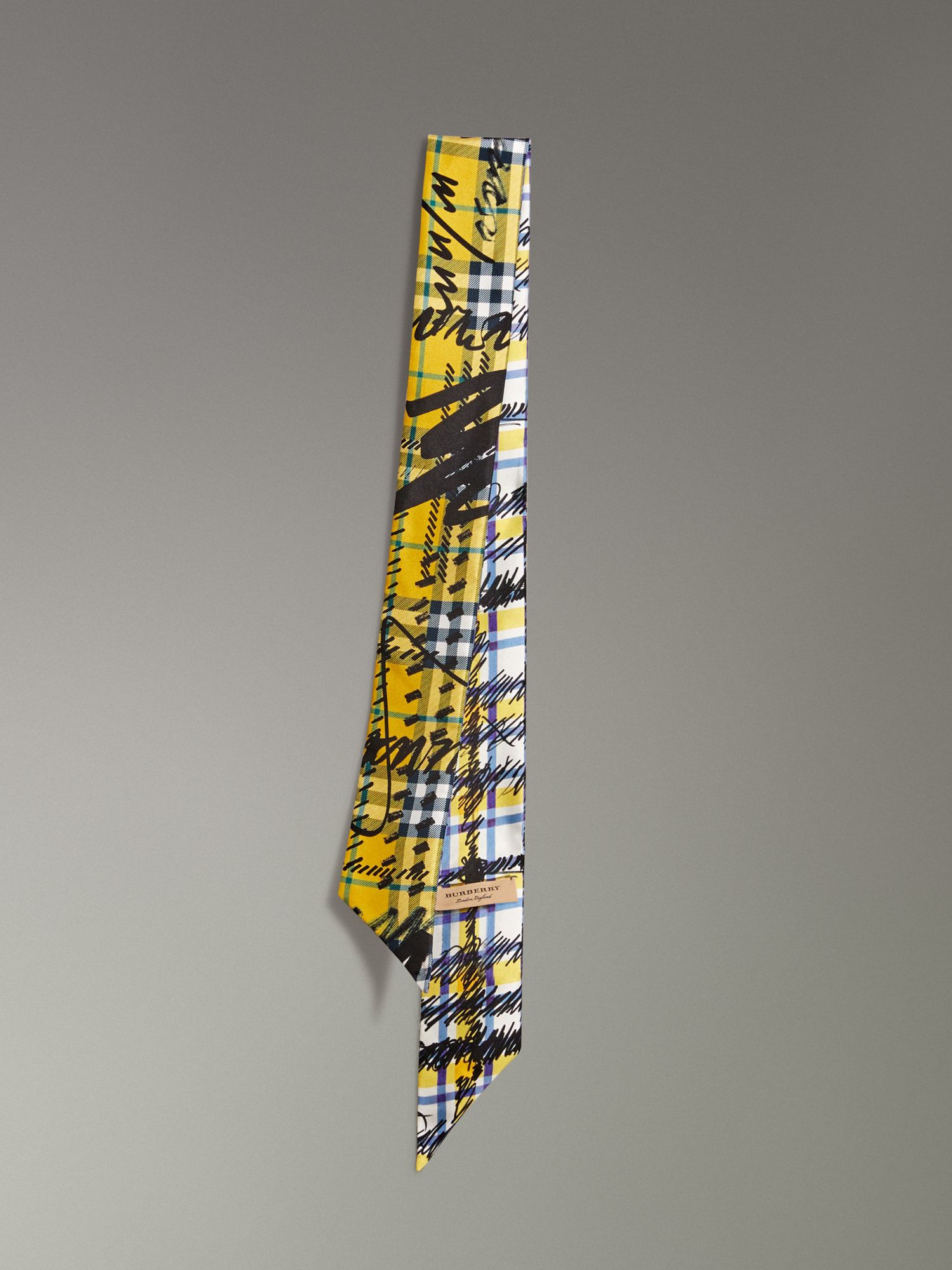 Scribble Check Silk Slim Scarf in Amber Yellow