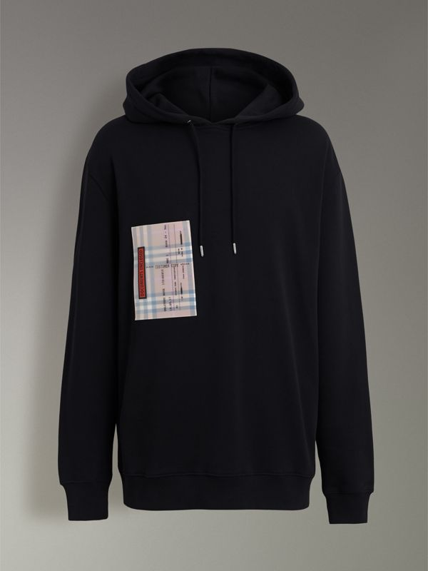 Ticket Print Pocket Cotton Jersey Hoodie in Black - Men | Burberry Hong Kong - cell image 3