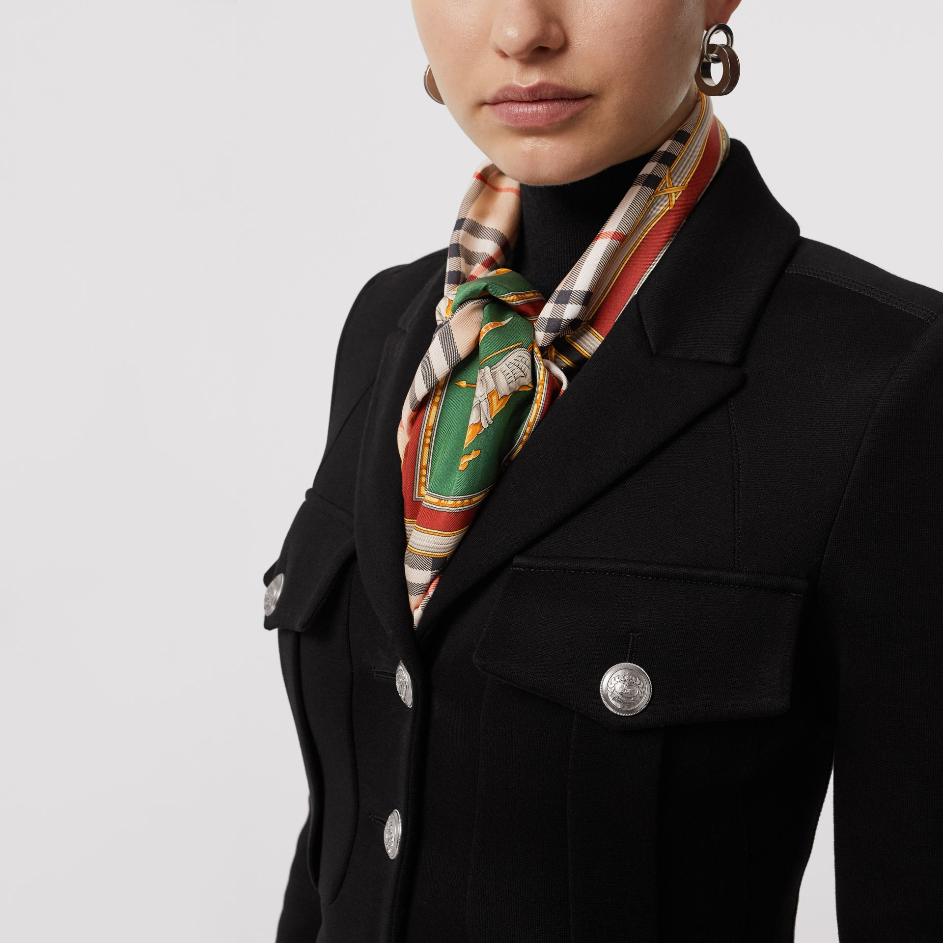 Bonded Cotton Blend Jersey Tailored Coat in Black - Women | Burberry - gallery image 4