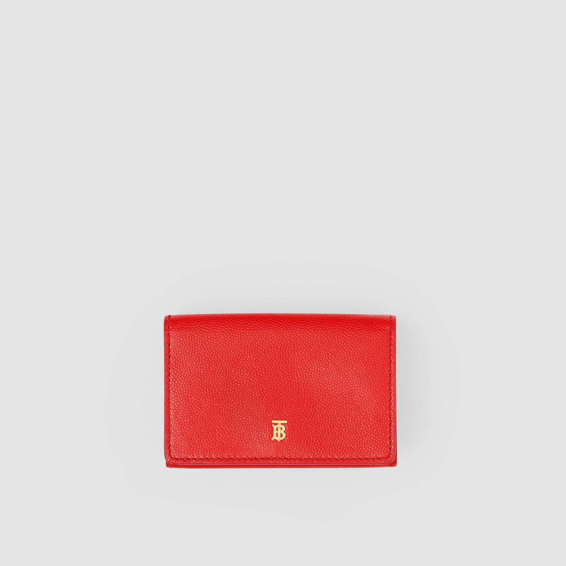 Small Grainy Leather Folding Wallet in Bright Red - Women | Burberry Canada - gallery image 0