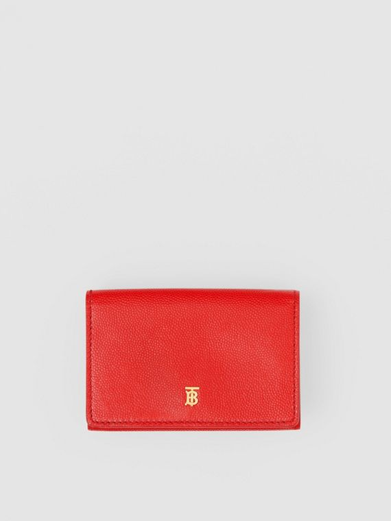 Small Grainy Leather Folding Wallet in Bright Red