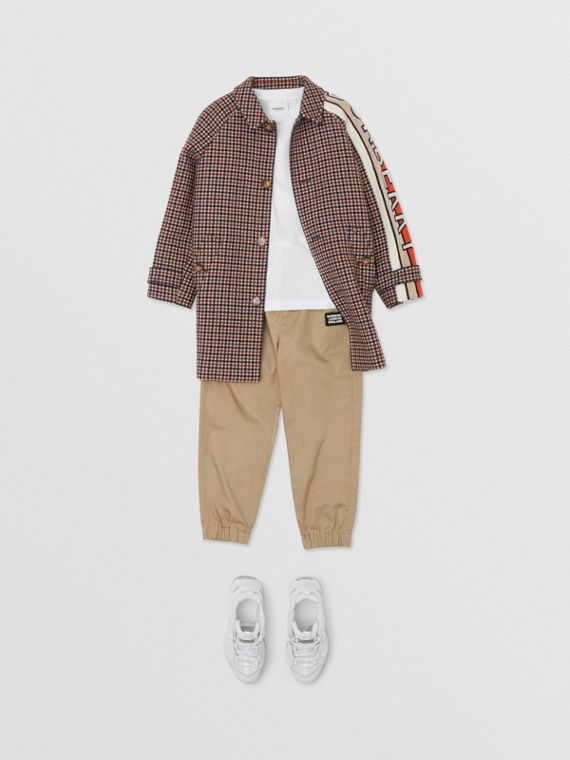 Track pants de sarja de algodão com logotipo (Mel)