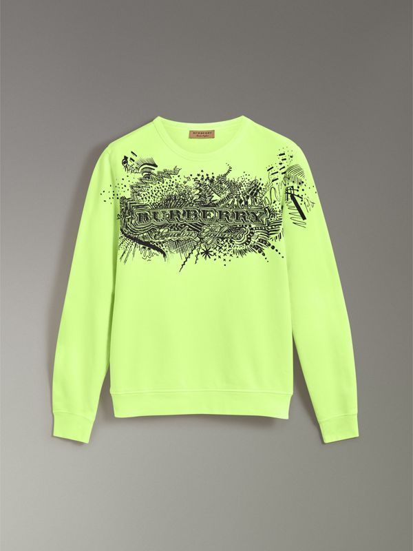Doodle Print Cotton Sweatshirt in Bright Lemon - Men | Burberry - cell image 3