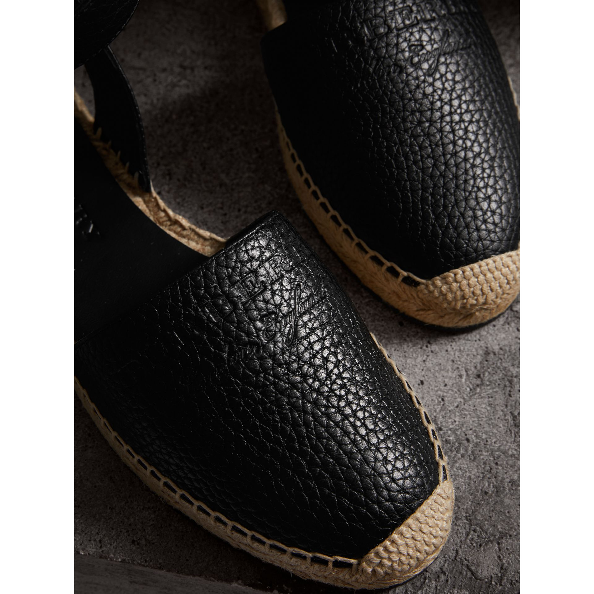 Embossed Grainy Leather Espadrille Sandals in Black - Women | Burberry Canada - gallery image 1