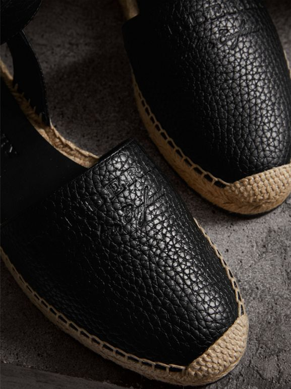 Embossed Grainy Leather Espadrille Sandals in Black - Women | Burberry - cell image 1