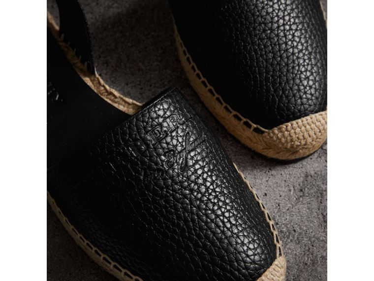 Embossed Grainy Leather Espadrille Sandals in Black - Women | Burberry Canada - cell image 1