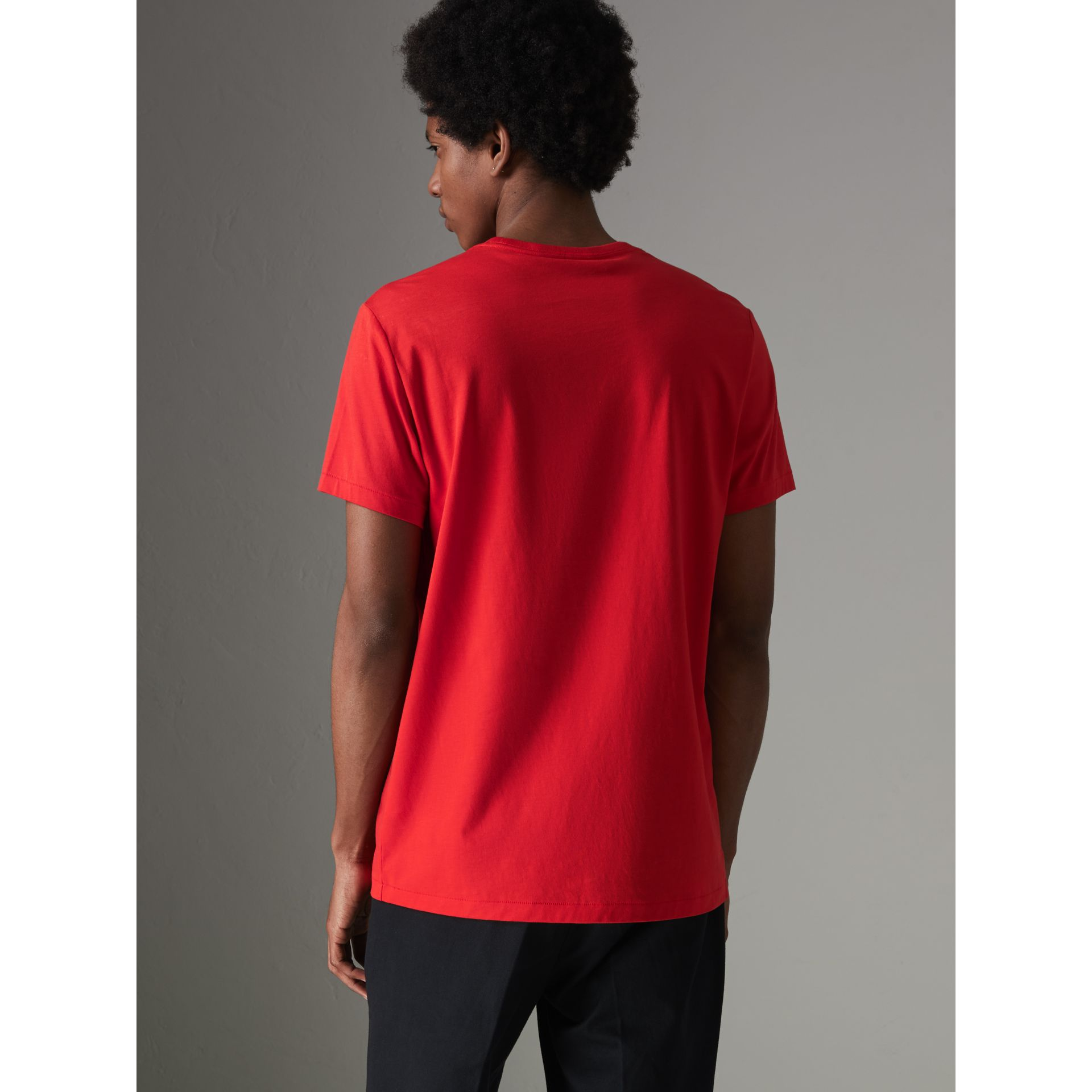 Cotton Jersey T-shirt in Bright Red - Men | Burberry - gallery image 2