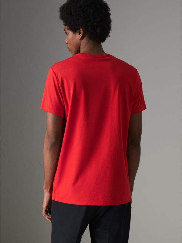 Cotton Jersey T-shirt in Bright Red - Men | Burberry - cell image 2