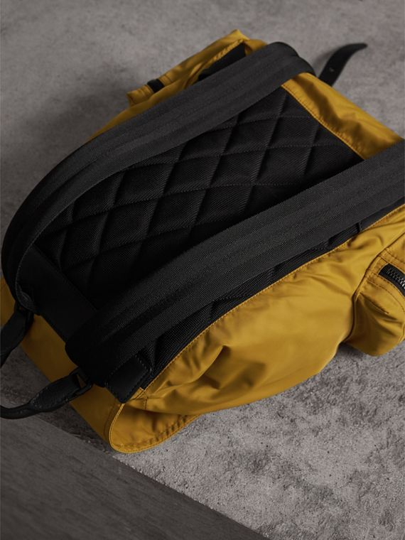 The Large Rucksack in Technical Nylon and Leather in Ochre Yellow - Men | Burberry - cell image 3