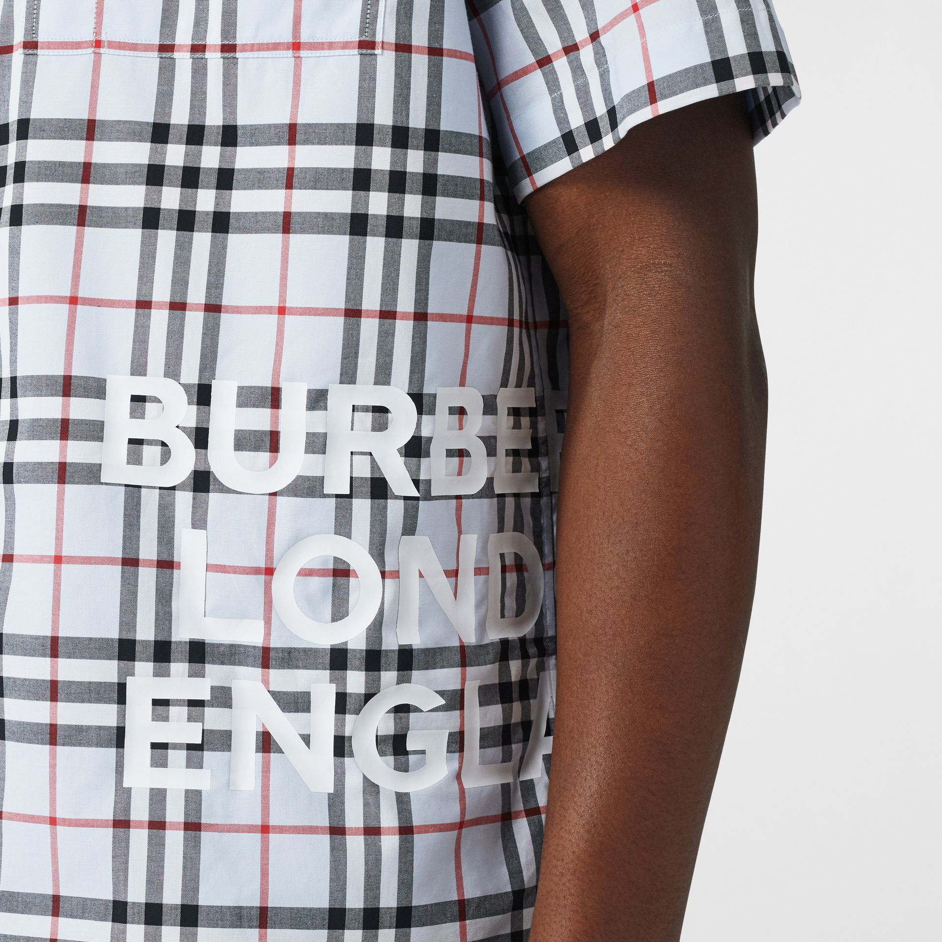 Short-sleeve Vintage Check Cotton Oversized Shirt in Pale Blue - Men | Burberry - gallery image 5