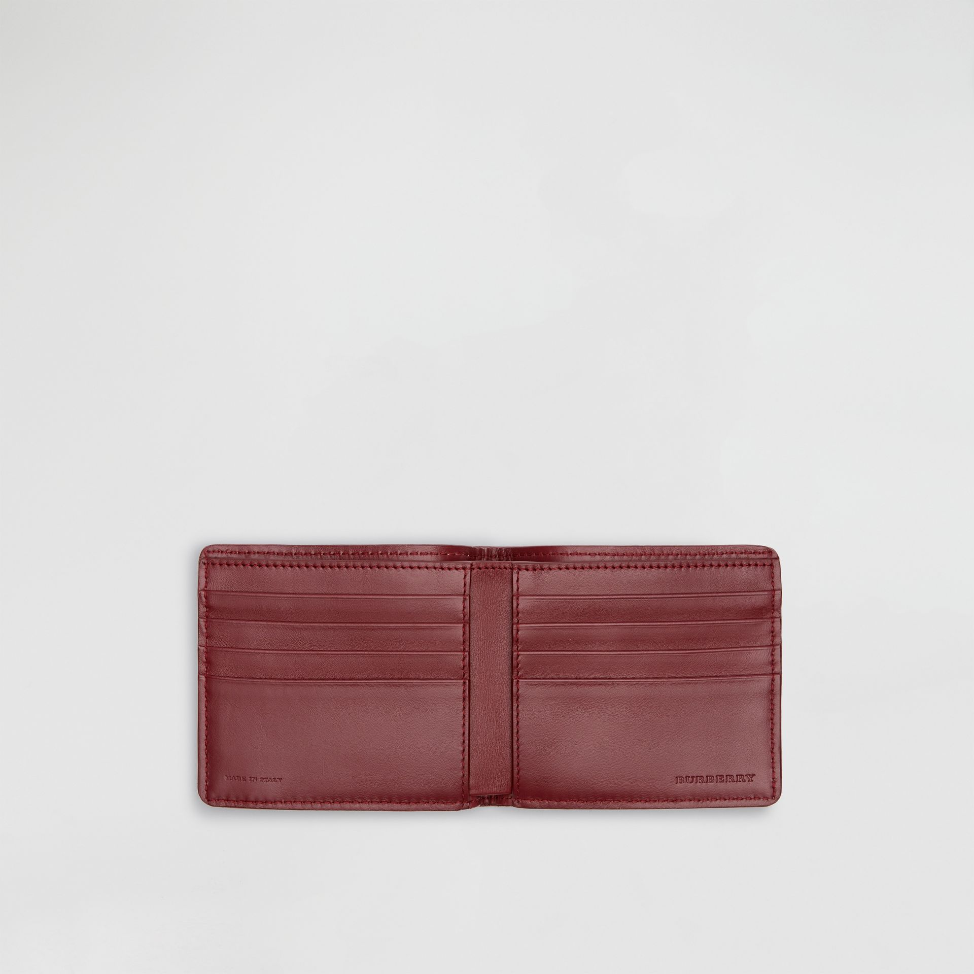 1983 Check and Leather International Bifold Wallet in Antique Red - Men | Burberry Singapore - gallery image 3