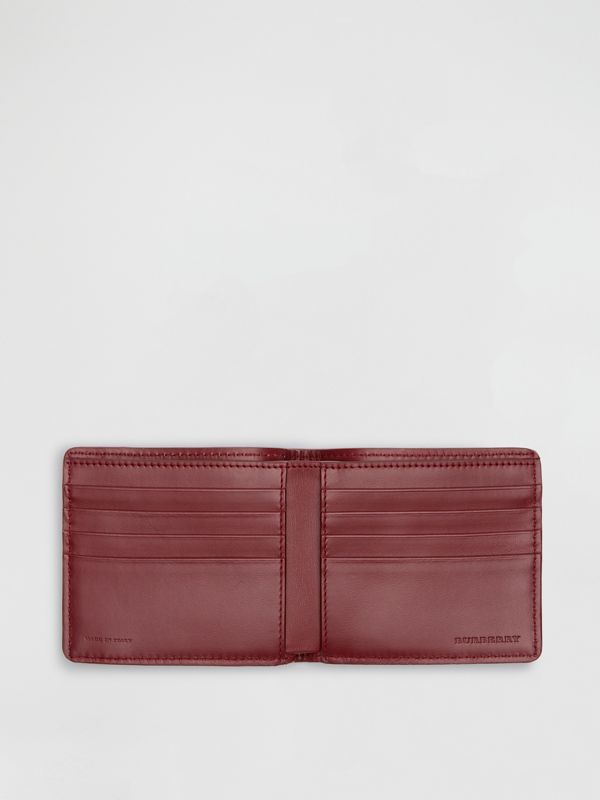 1983 Check and Leather International Bifold Wallet in Antique Red - Men | Burberry Hong Kong - cell image 3