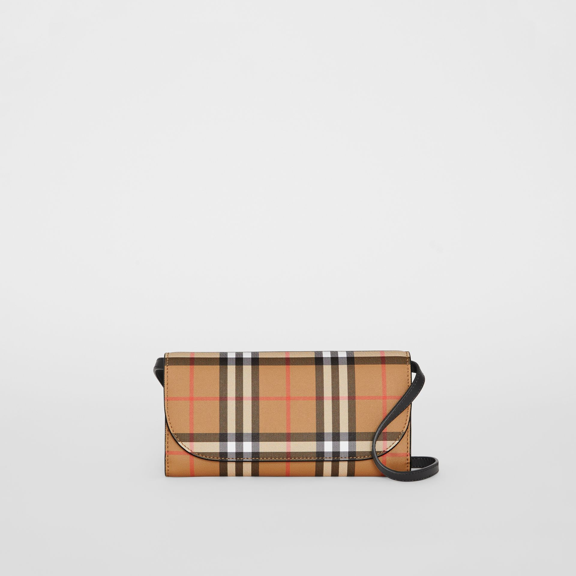 Detachable Strap Vintage Check Leather Wallet in Black - Women | Burberry - gallery image 0