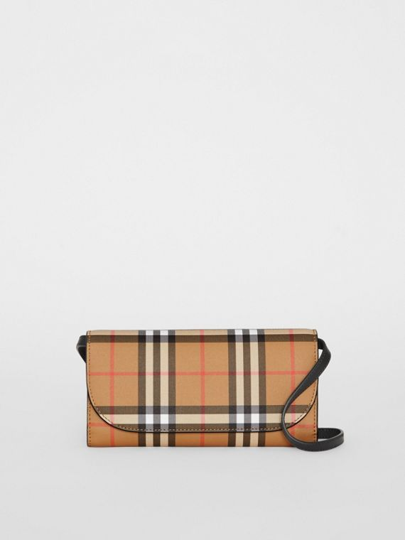 Detachable Strap Vintage Check Leather Wallet in Black