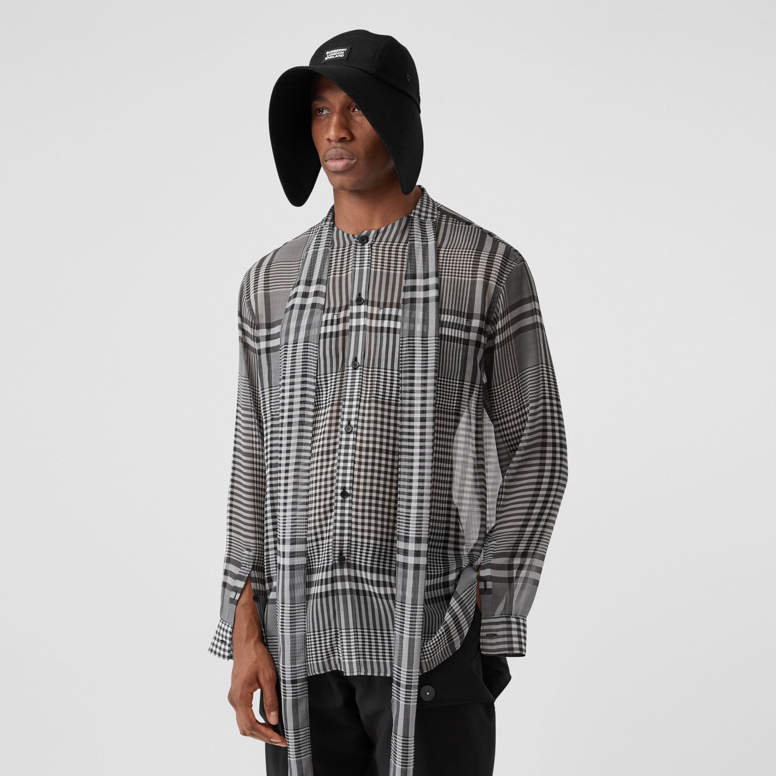Check Silk Georgette Oversized Tie-neck Shirt in Black - Men | Burberry - 1