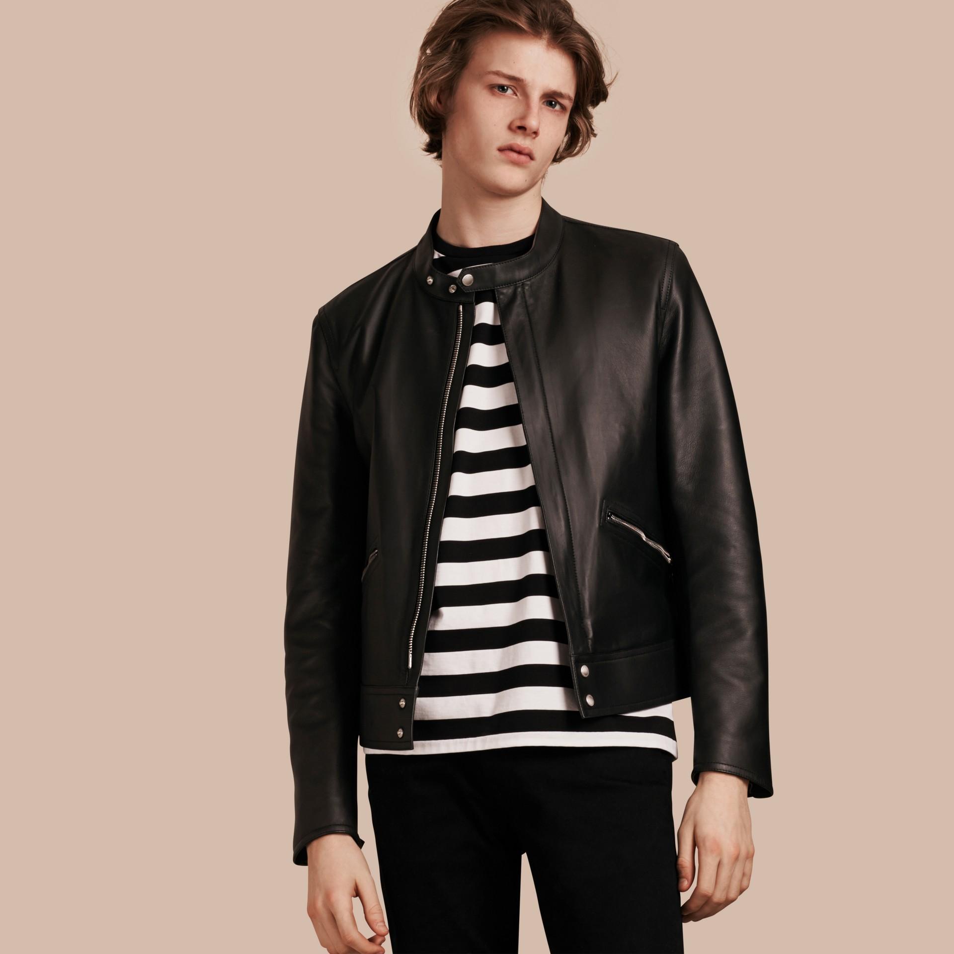 Черный Байкерская куртка из кожи ягненка - изображение 1