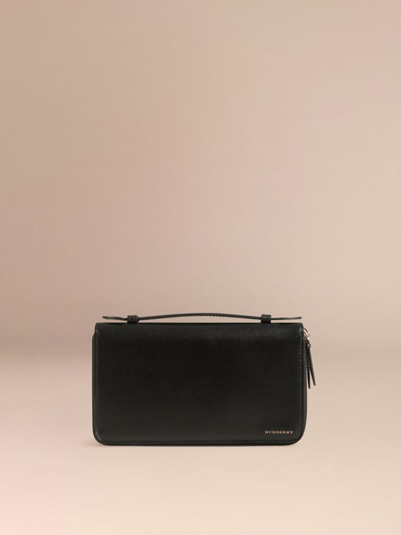 London Leather Travel Wallet in Black - Men | Burberry Hong Kong - cell image 2