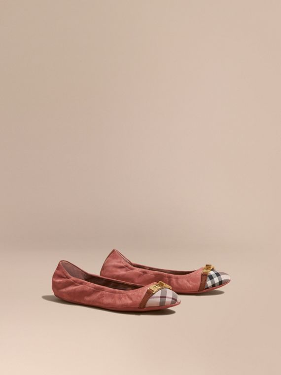 Check Detail Suede Ballerinas - Women | Burberry