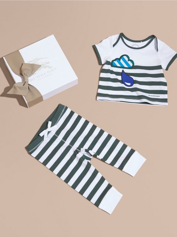 Striped Cotton Two-piece Baby Gift Set with Appliqué in Racing Green