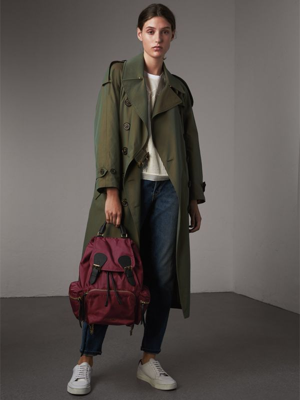 The Medium Rucksack in Technical Nylon and Leather in Burgundy Red - Women | Burberry - cell image 2