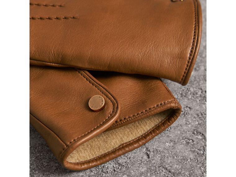 Cashmere Lined Lambskin Gloves in Malt Brown - Men | Burberry United Kingdom - cell image 2