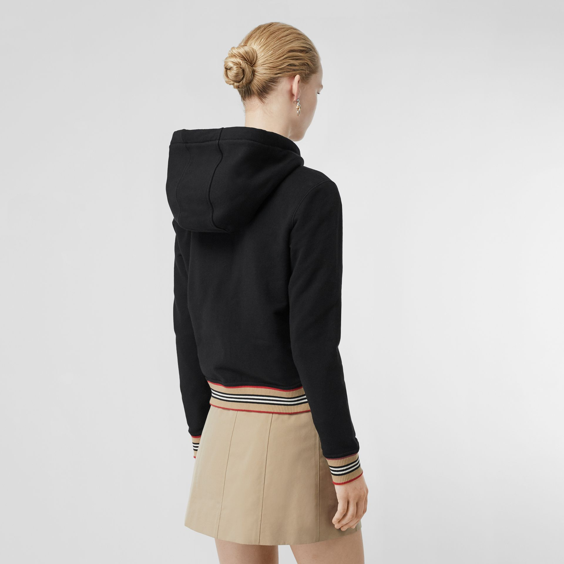 Icon Stripe Detail Monogram Motif Hooded Top in Black - Women | Burberry Singapore - gallery image 2