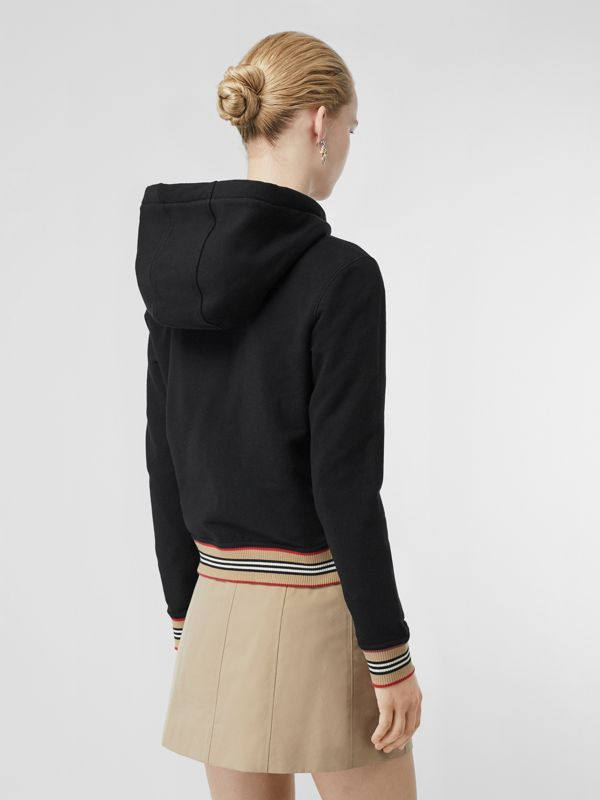 Icon Stripe Detail Monogram Motif Hooded Top in Black - Women | Burberry - cell image 2