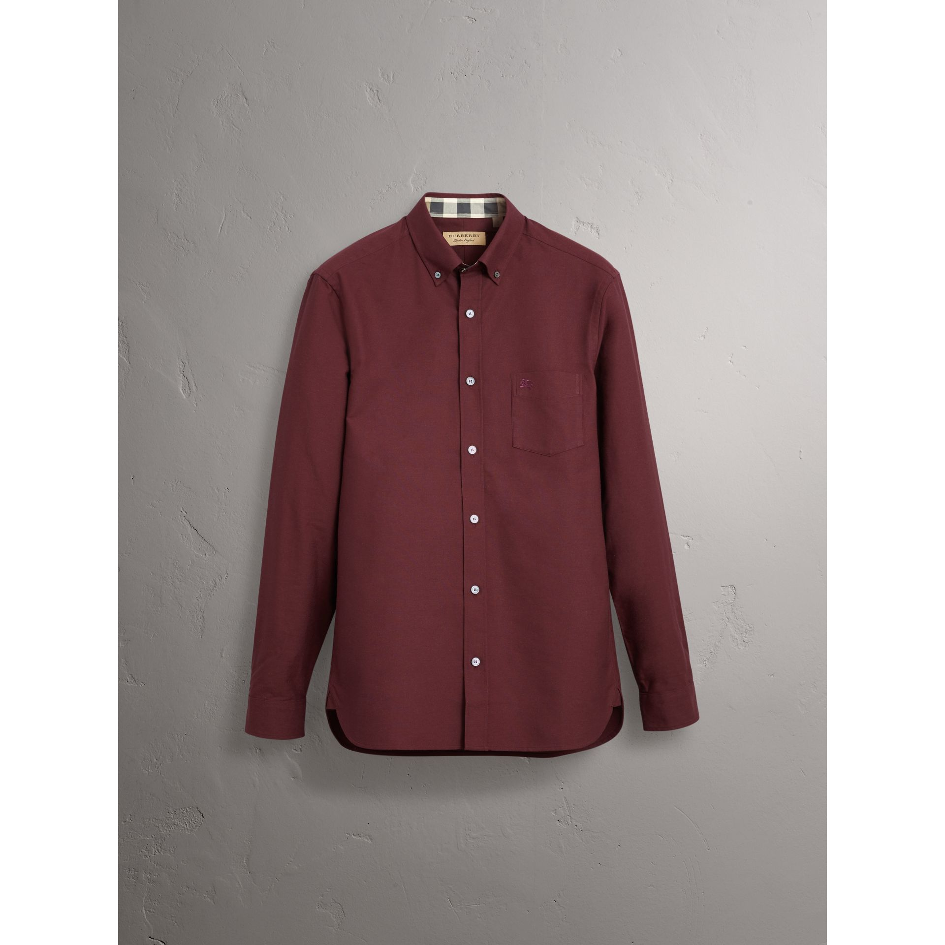 Check Detail Cotton Oxford Shirt in Oxblood - Men | Burberry United Kingdom - gallery image 3