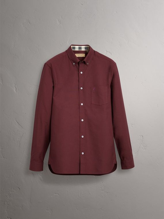 Check Detail Cotton Oxford Shirt in Oxblood - Men | Burberry United Kingdom - cell image 3