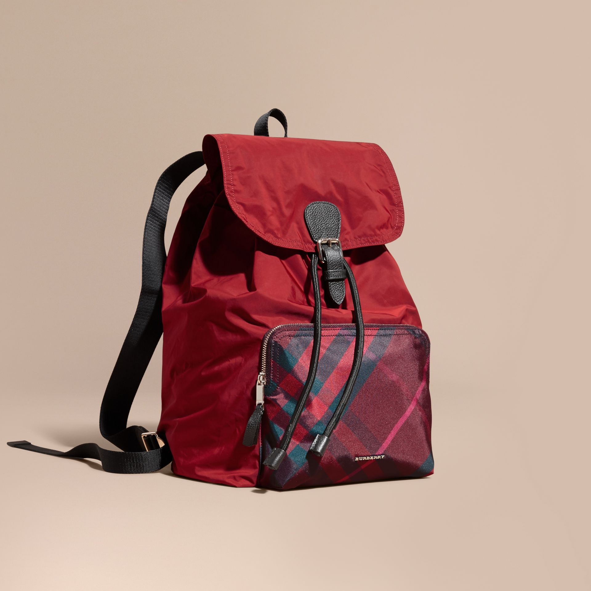 Check Detail Technical Packaway Rucksack Hawthorn Red - gallery image 1