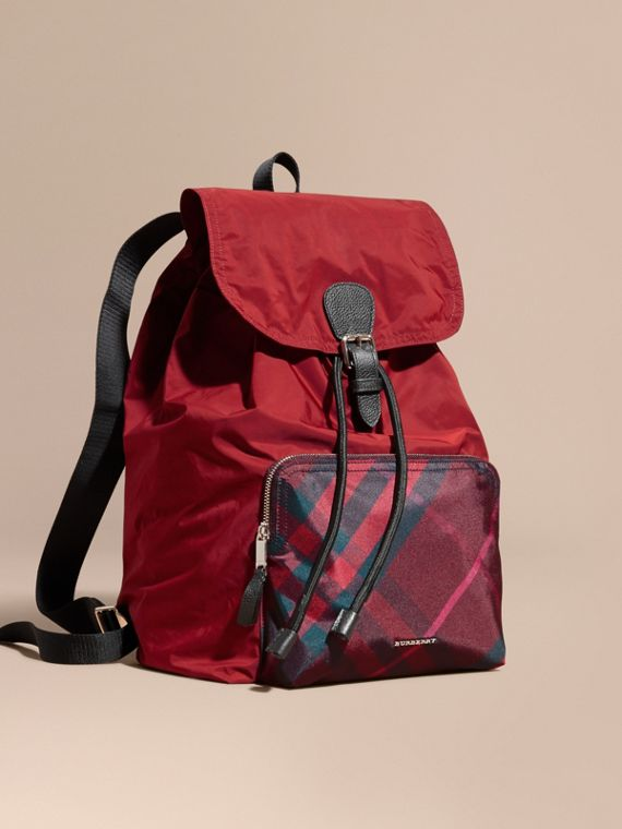 Check Detail Technical Packaway Rucksack Hawthorn Red