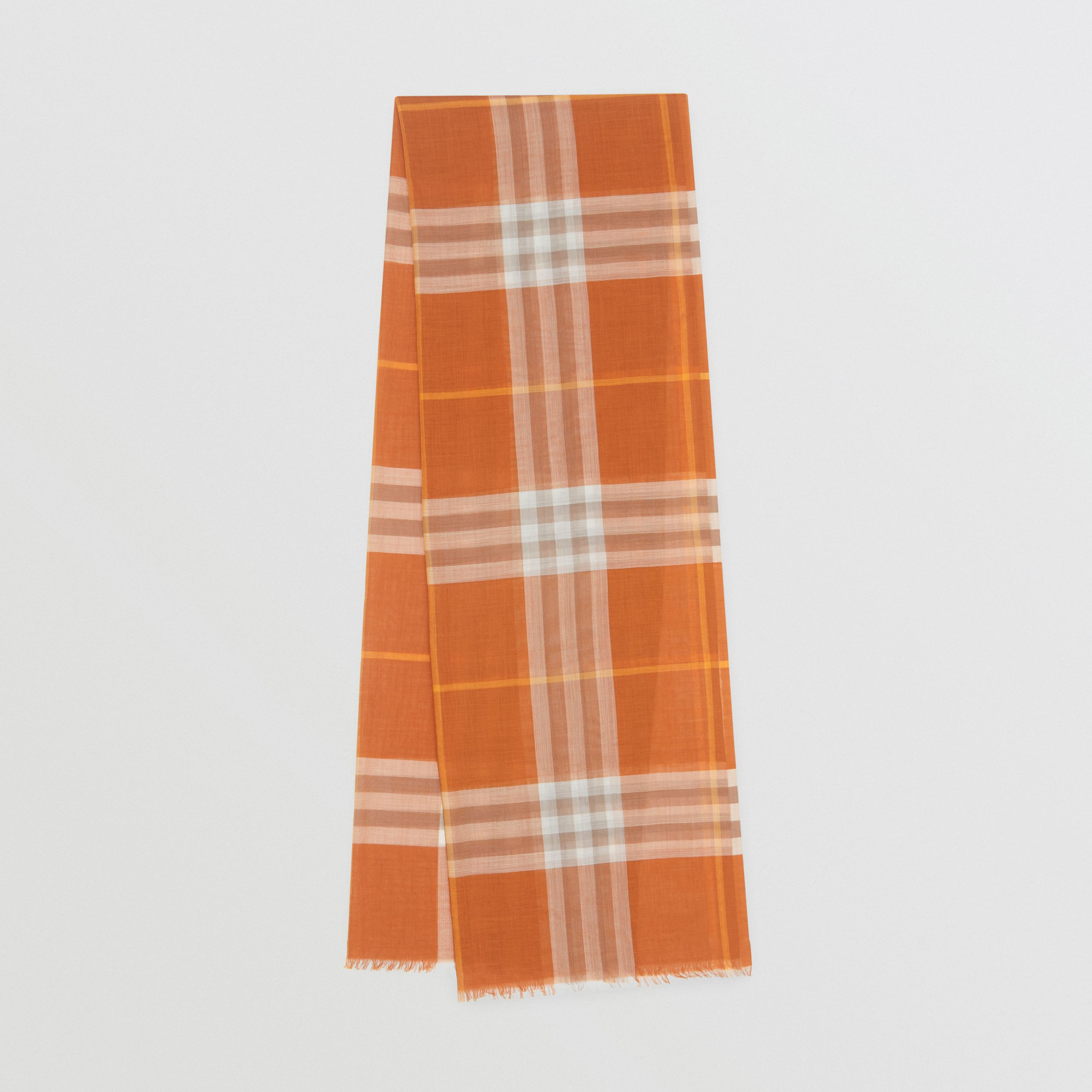 Lightweight Check Wool Silk Scarf in Bright Melon | Burberry - 1