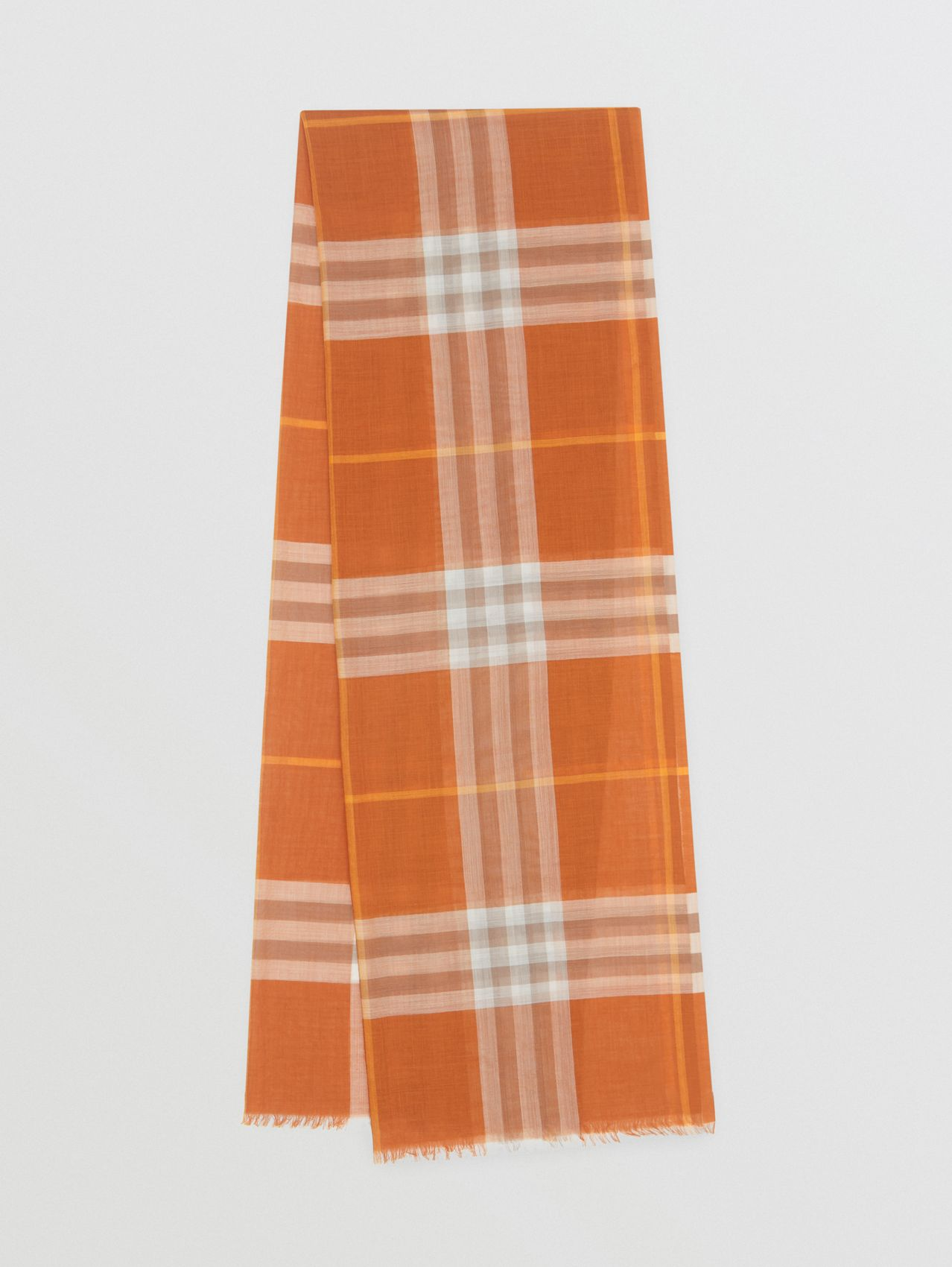 Lightweight Check Wool Silk Scarf in Bright Melon