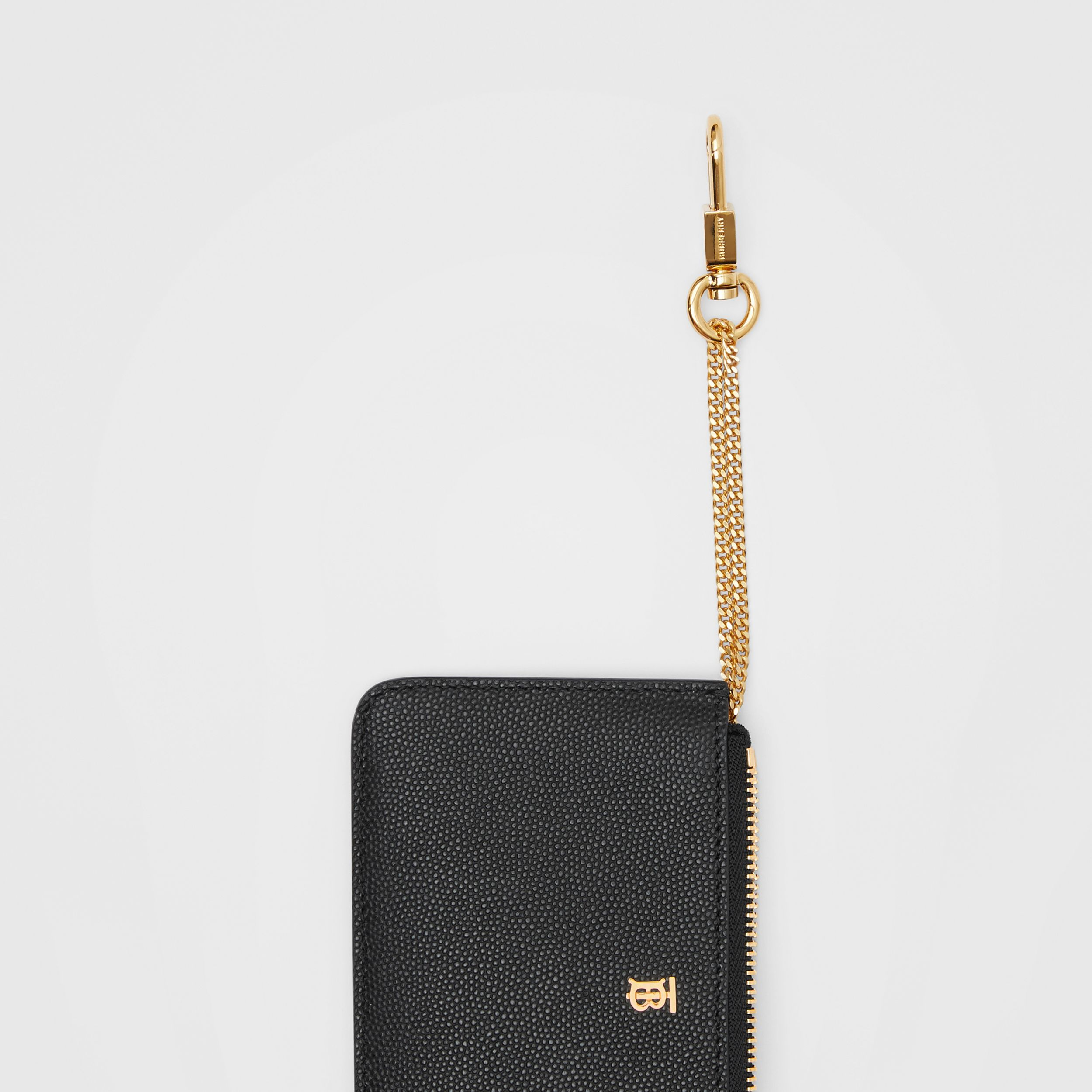 Monogram Motif Grainy Leather Zip Coin Case in Black - Women | Burberry - 2