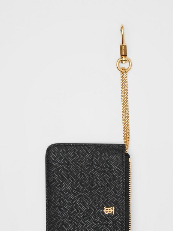Monogram Motif Grainy Leather Zip Coin Case in Black - Women | Burberry - cell image 1