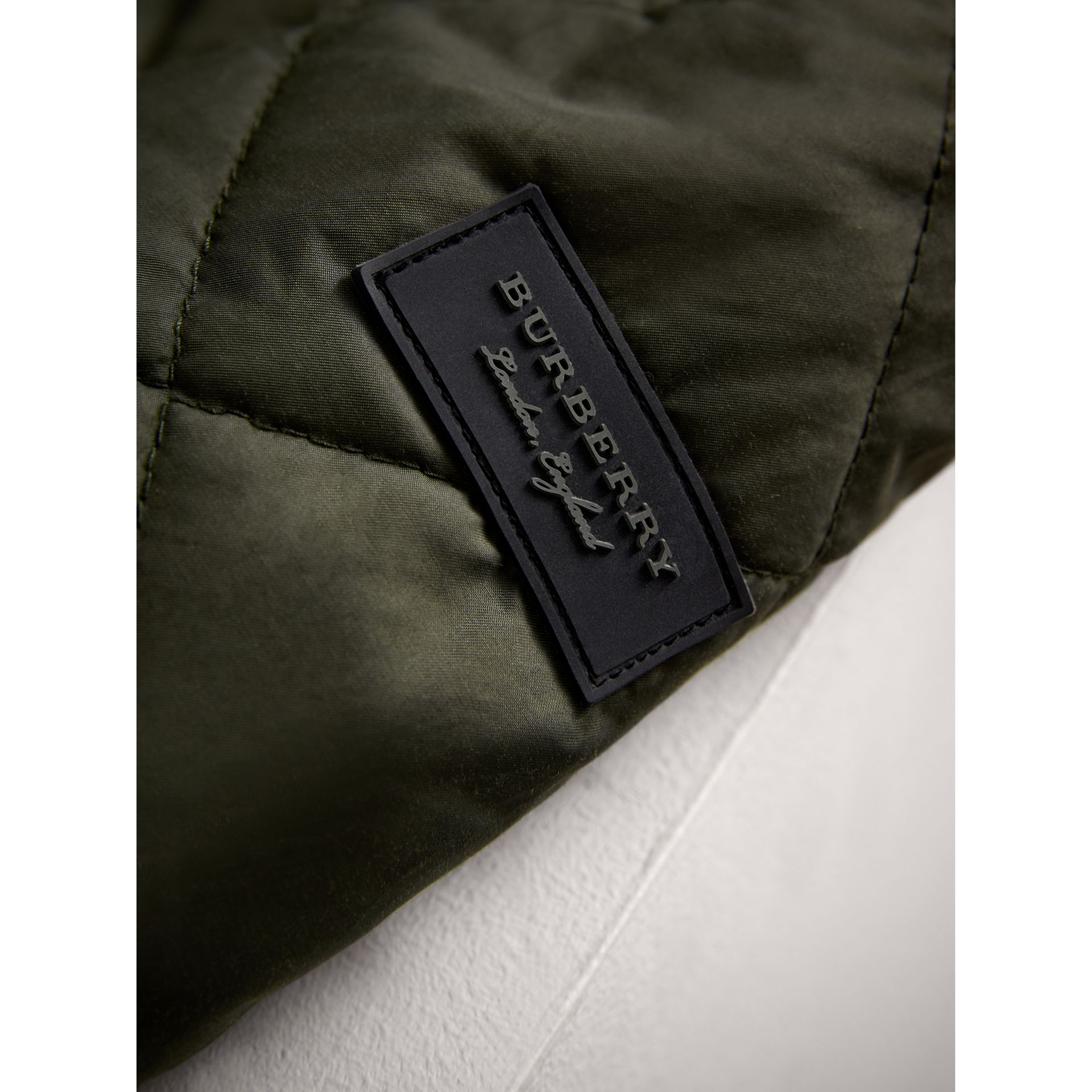 Quilted Cotton Blend Coat in Olive | Burberry - gallery image 1