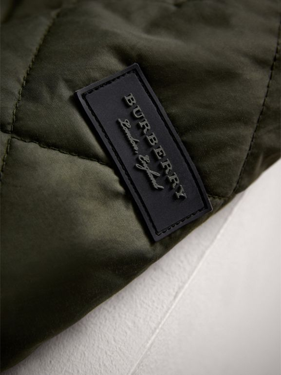 Quilted Cotton Blend Coat in Olive | Burberry - cell image 1