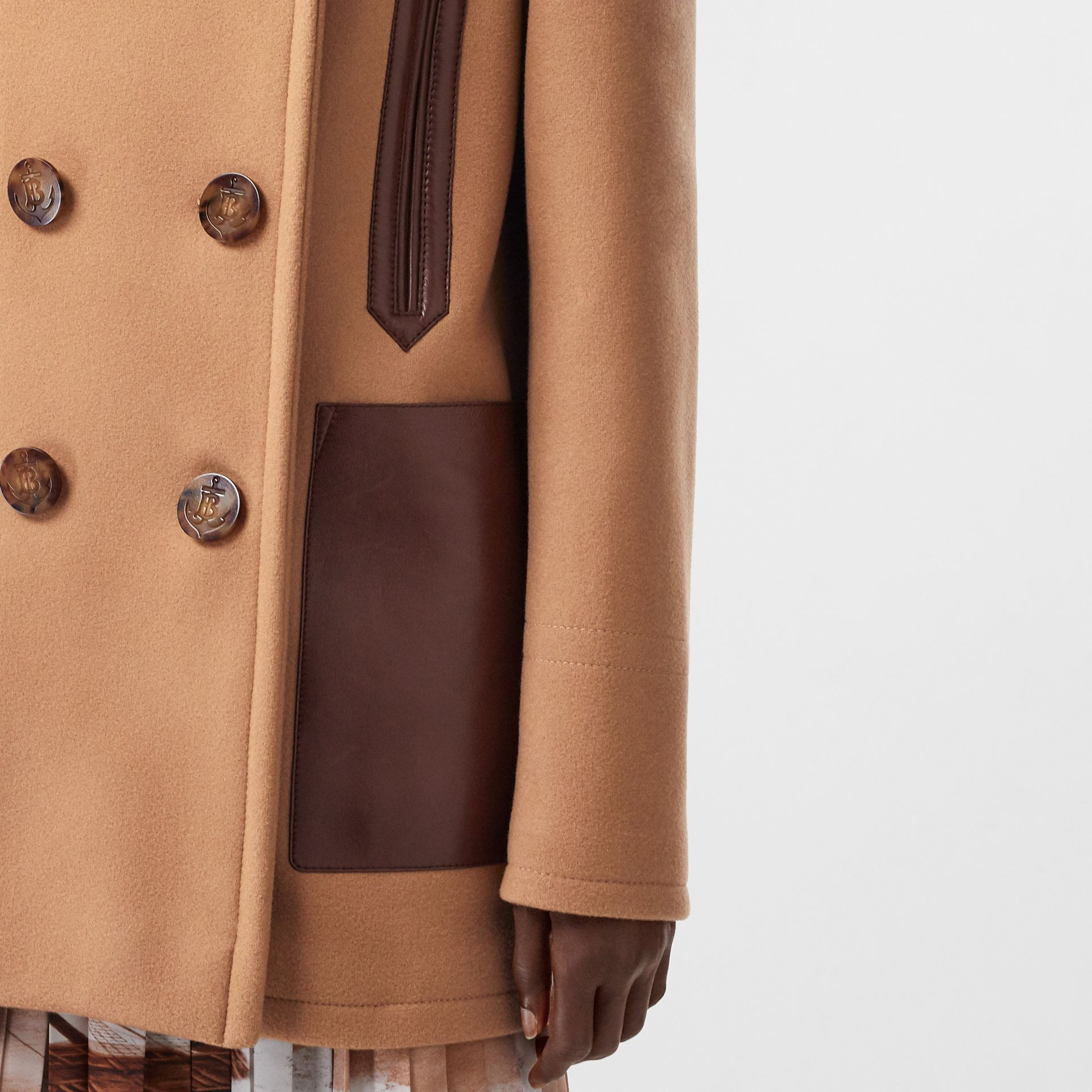 Lambskin Pocket Wool Blend Pea Coat in Camel - Women | Burberry - gallery image 4
