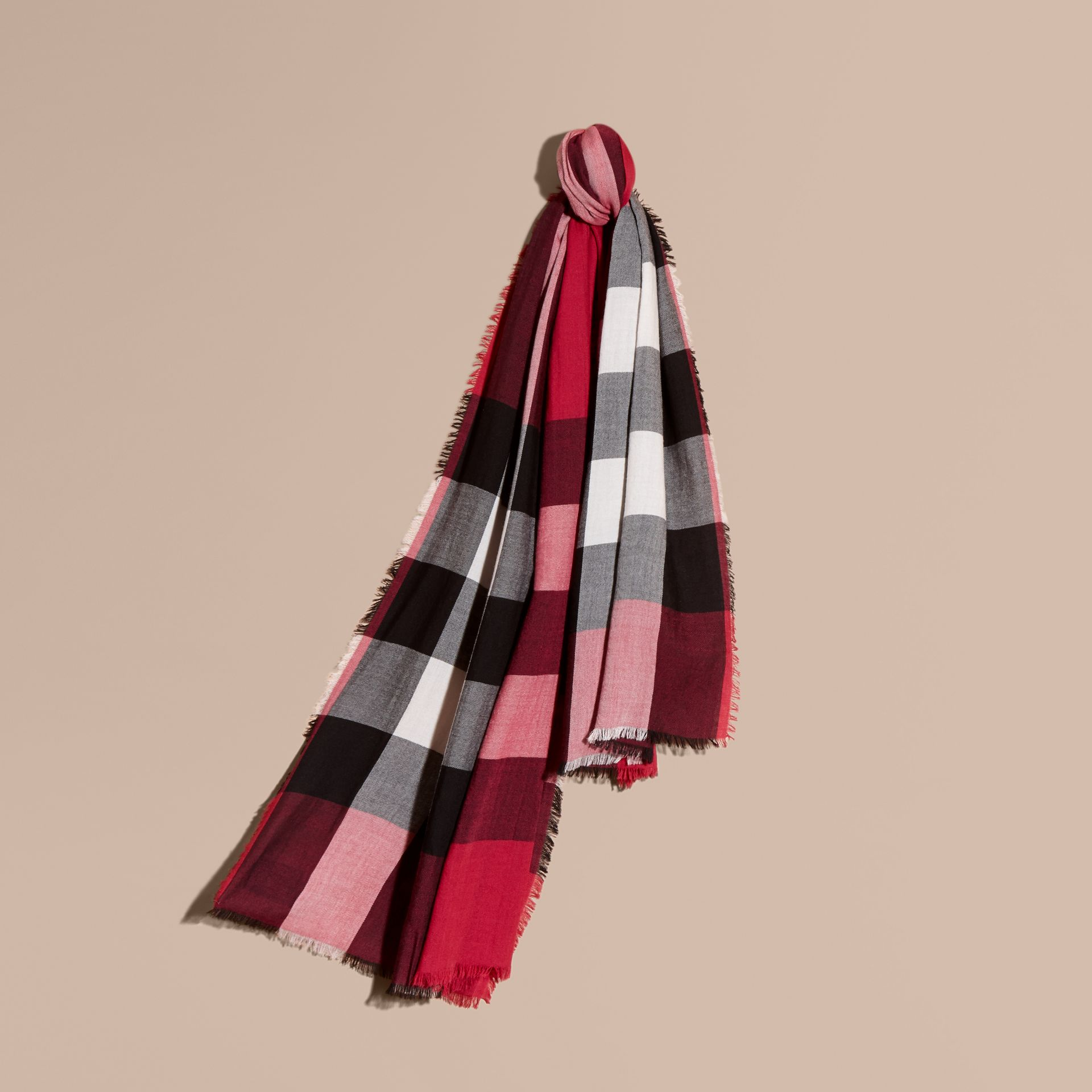 The Lightweight Cashmere Scarf in Check in Fuchsia Pink - gallery image 6