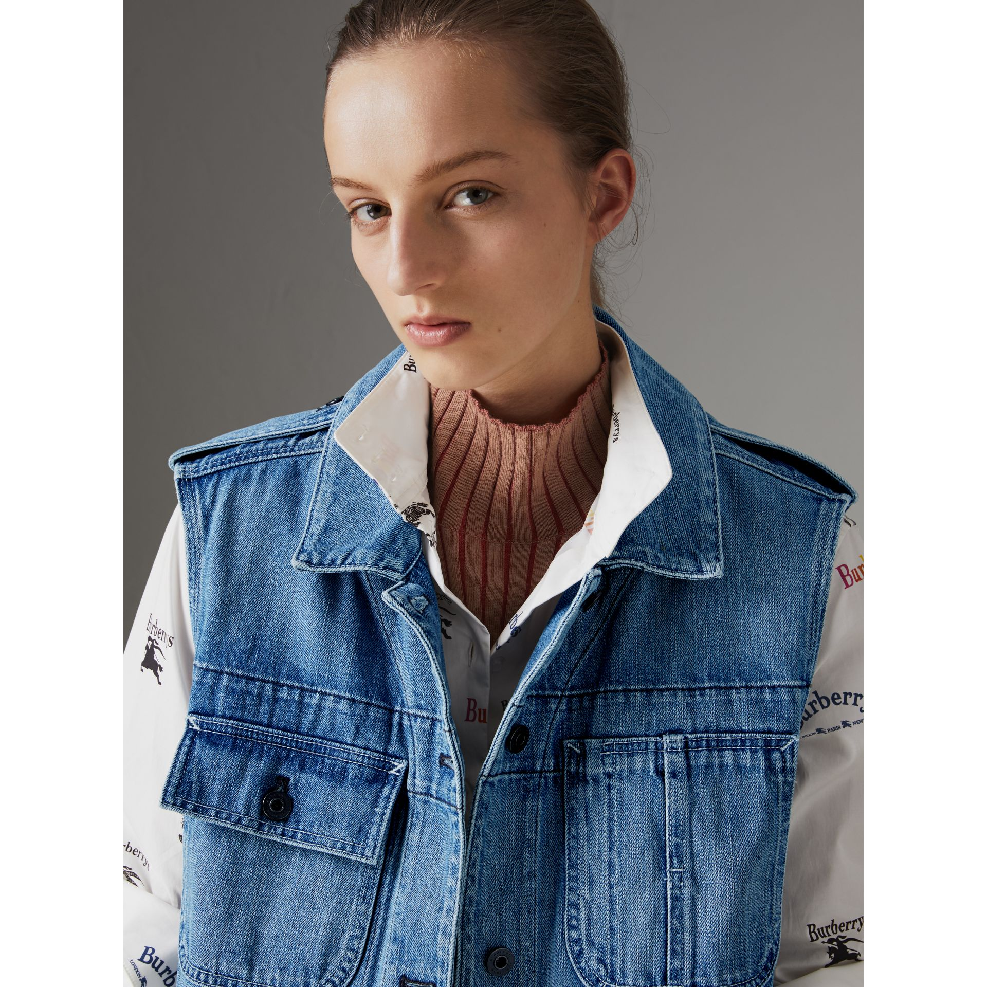 Sleeveless Japanese Denim Jacket in Steel Blue - Women | Burberry United Kingdom - gallery image 1