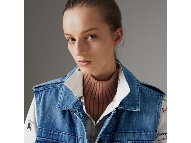 Sleeveless Japanese Denim Jacket in Steel Blue - Women | Burberry United Kingdom - cell image 1