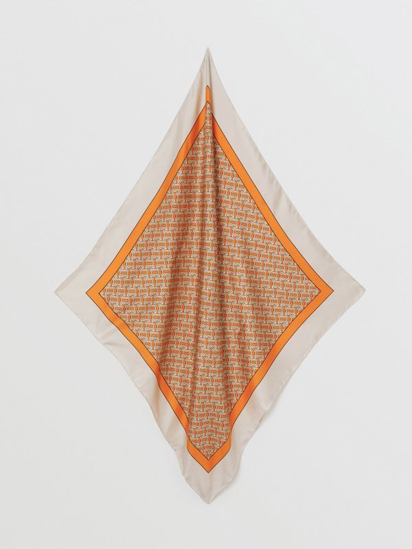Monogram Print Silk Square Scarf in Bright Orange | Burberry - cell image 3