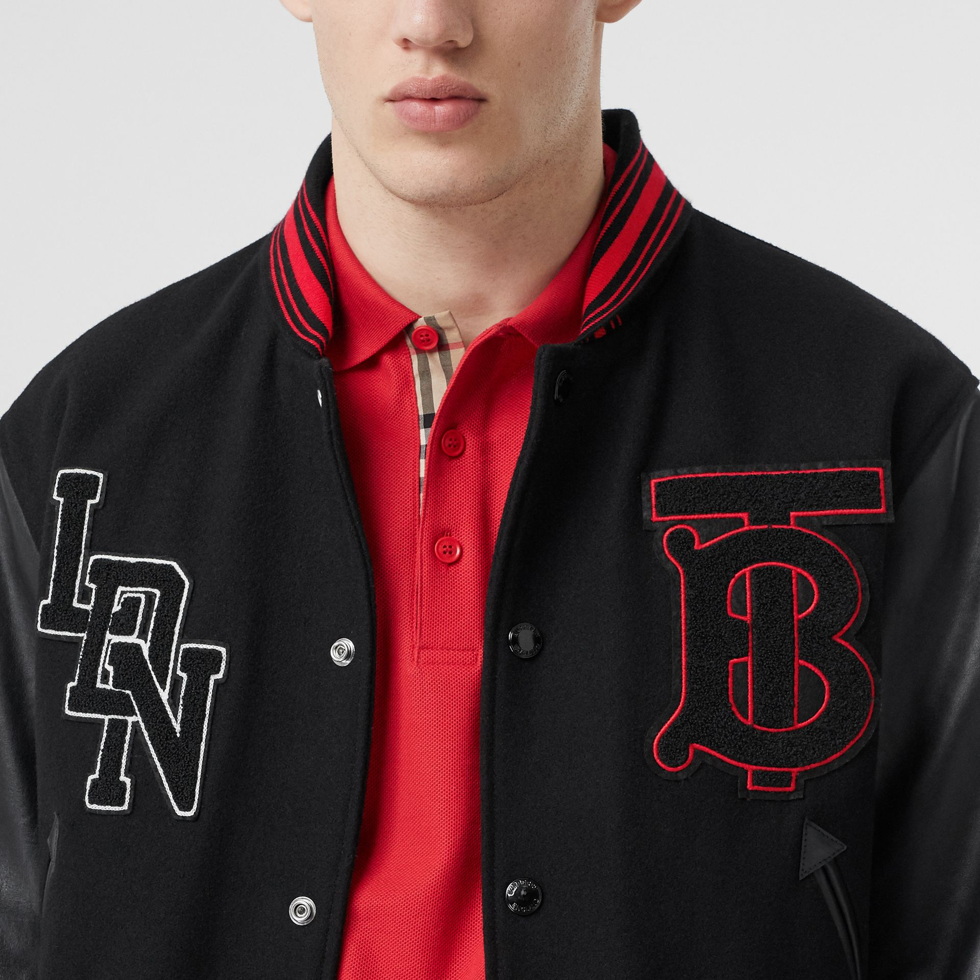 Contrast Sleeve Logo Graphic Wool Bomber Jacket in Black - Men | Burberry - gallery image 4