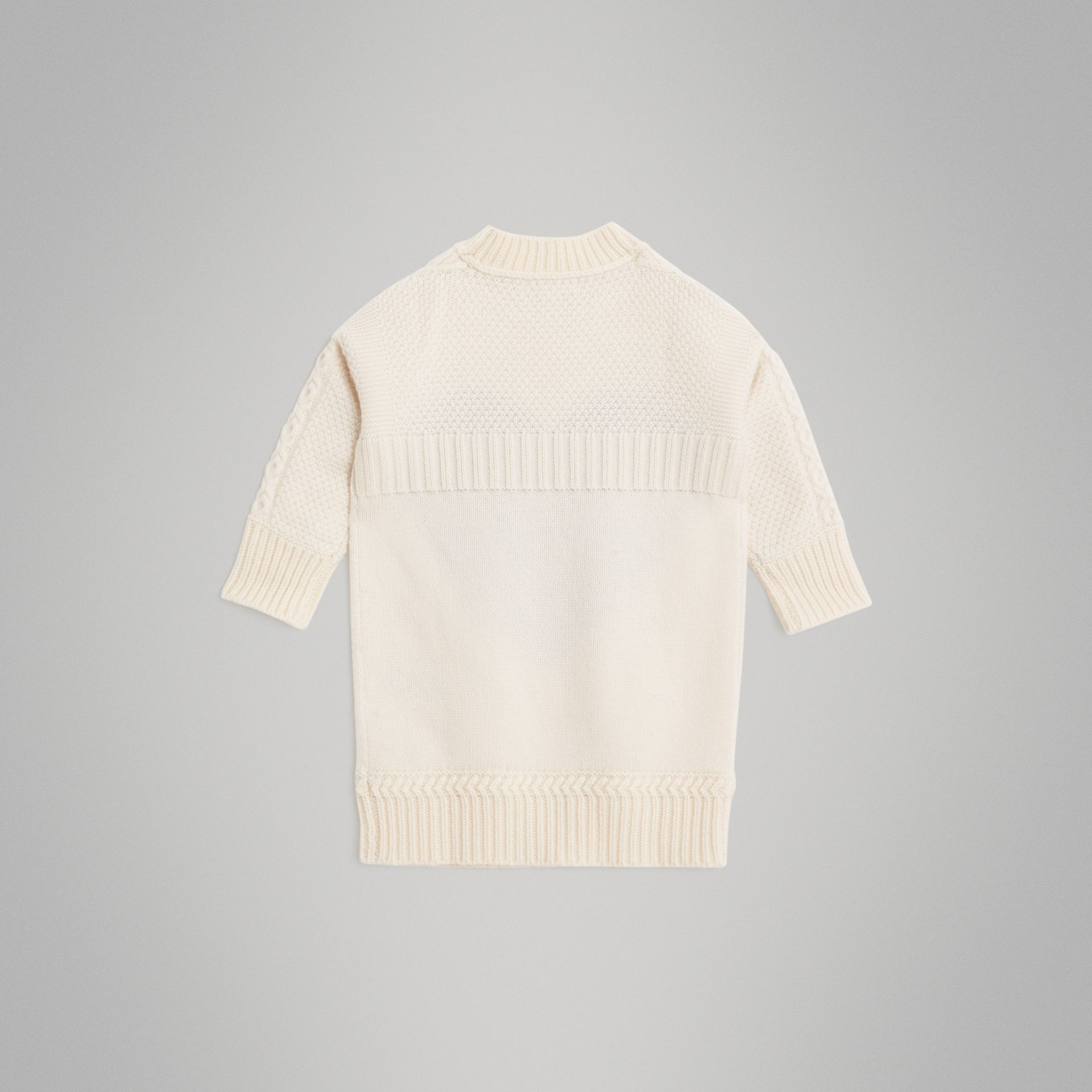Heart Intarsia Wool Cashmere Sweater Dress in Ivory | Burberry - gallery image 3