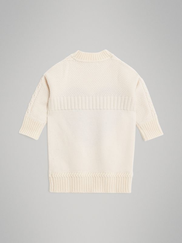 Heart Intarsia Wool Cashmere Sweater Dress in Ivory | Burberry - cell image 3