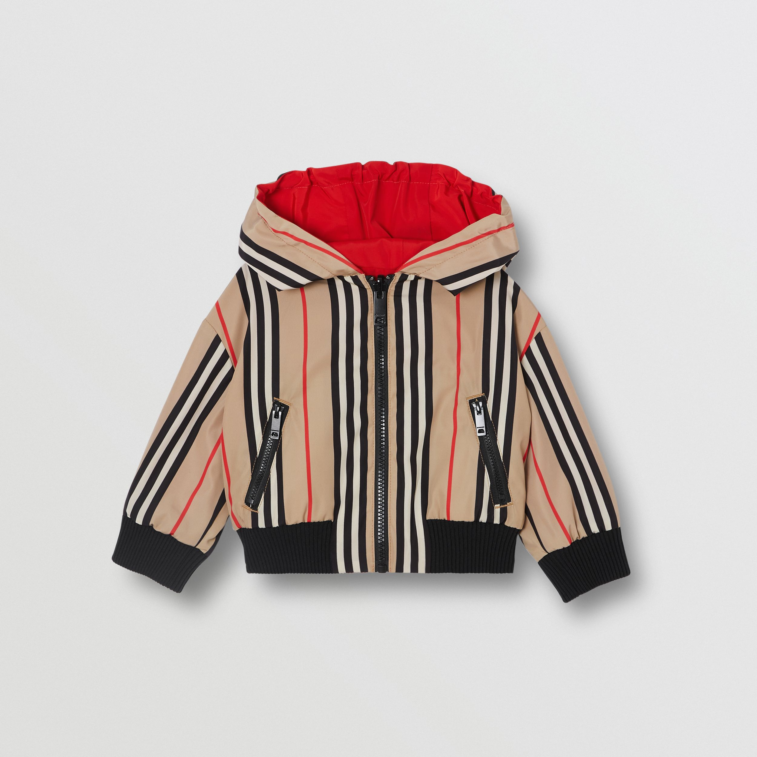 Reversible Icon Stripe Lightweight Hooded Jacket in Bright Red - Children | Burberry - 4