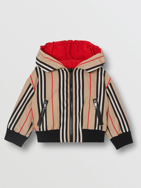 Reversible Icon Stripe Lightweight Hooded Jacket in Bright Red - Children | Burberry - cell image 3